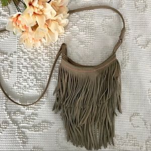 • Taupe Fringe Cross-Body Satchel •